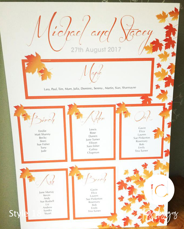 Tops Designs - Autum Leaf Table Plan