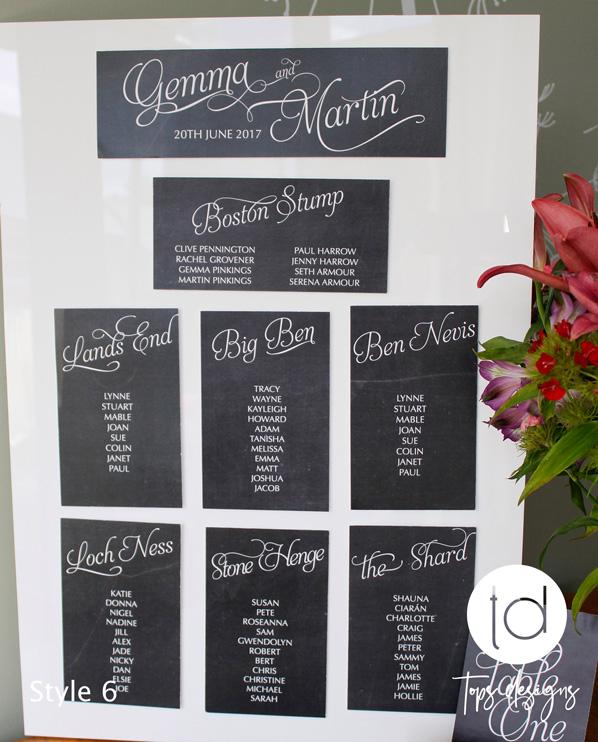 Tops Designs - Chalkboard Table Plan