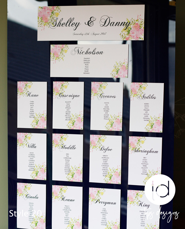Tops Designs - Floral Table Plan