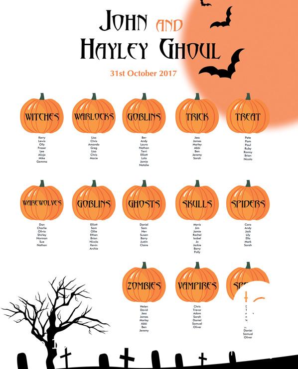 Tops Designs - Halloween Table Plan